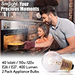 Oven Light Bulbs – 40 Watt Appliance Replacement Bulbs for Oven, Stove, Refrigerator, Microwave. Incandescent - High Temp G45 E26/E27 Socket. Medium Brass Lead-Free Base - 400 Lumens - Clear. 2 Pack 9