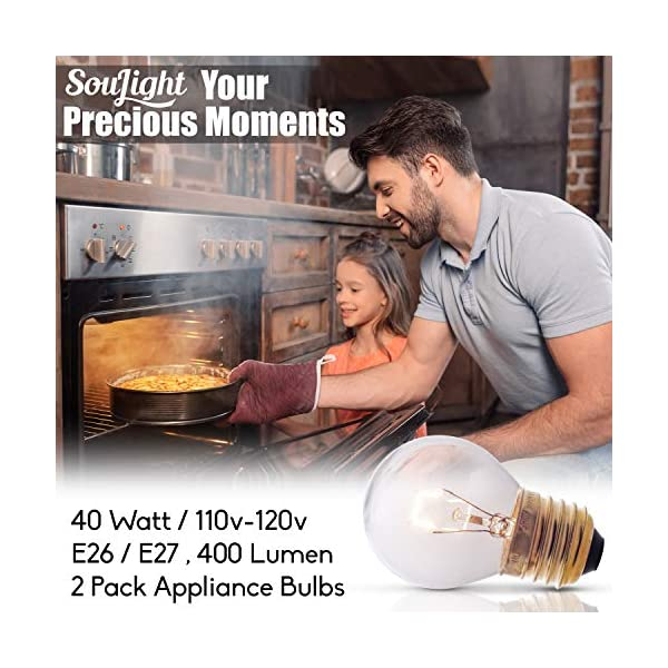 Oven Light Bulbs – 40 Watt Appliance Replacement Bulbs for Oven, Stove, Refrigerator, Microwave. Incandescent - High Temp G45 E26/E27 Socket. Medium Brass Lead-Free Base - 400 Lumens - Clear. 2 Pack 4