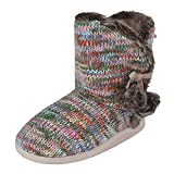 Women's Indoor Slippers Boots Girls Winter Warm Cotton Cable Knit Plush Fleece Lined Ankle High Snow Booties House Slip on Non-Slip Insulated Floor Socks (36-37 M EU / 5-6 B(M) US, Multi-Colored)
