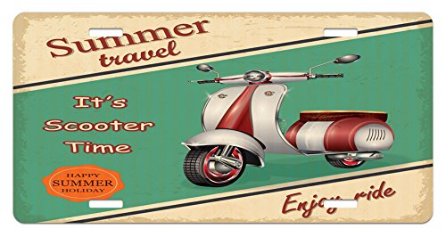 Vintage License Plate by Ambesonne, Scooter Motorbike Summer Travel Italian City Sight Hipster Enjoy Ride Illustration, High Gloss Aluminum Novelty Plate, 5.88 L X 11.88 W Inches, Multicolor