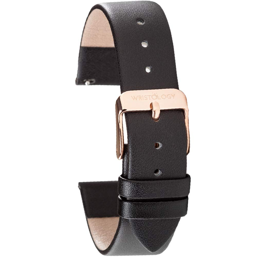 WRISTOLOGY Watch Bands - Leather Quick Release Watch Strap Replacement - Unisex Mens or Womens Choose Color and Width 14mm 16mm 18mm or 20mm Millimeter