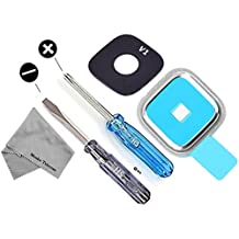 Samsung Galaxy S5 i9600 G900 G900T G900V G900P G900H Camera Glass Lens Cover Chrome Full Set incl. Gasket and adhesive Pad incl. 2 x screwdriver for easy installation by MMOBIEL