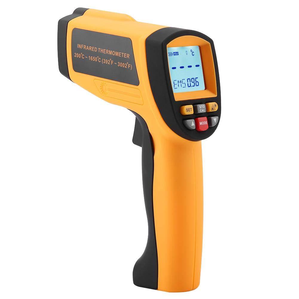 Akozon Infrarot-Thermometer, GM1650 Berührungslose Laser-LCD-Anzeige Digitales Infrarot-Thermometer 200 ℃ -1650 ℃ Gelb