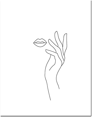 Amazon Com Mo Duo Sketch Wall Art Line Drawing Print Minimalist Simple Fashion Canvas Poster Black White Painting Love Quote Wall Picture Decor 15x20cm No Frame 06fx11 Home Kitchen