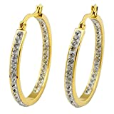 Blingbling Jewelry Titanium Steel Gold Plated Austria Crystal Big Hoop Earrings 46mm for Women