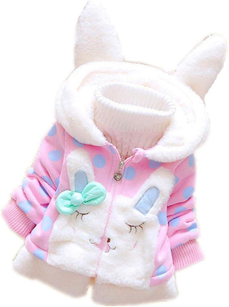 FeiliandaJJ Baby M/ädchen Fleece Jacken Mantel,Kinder Kleidung Winter Warm Dick Niedlich Hase Ohren Kapuzenjacke Kids Coat Outwear