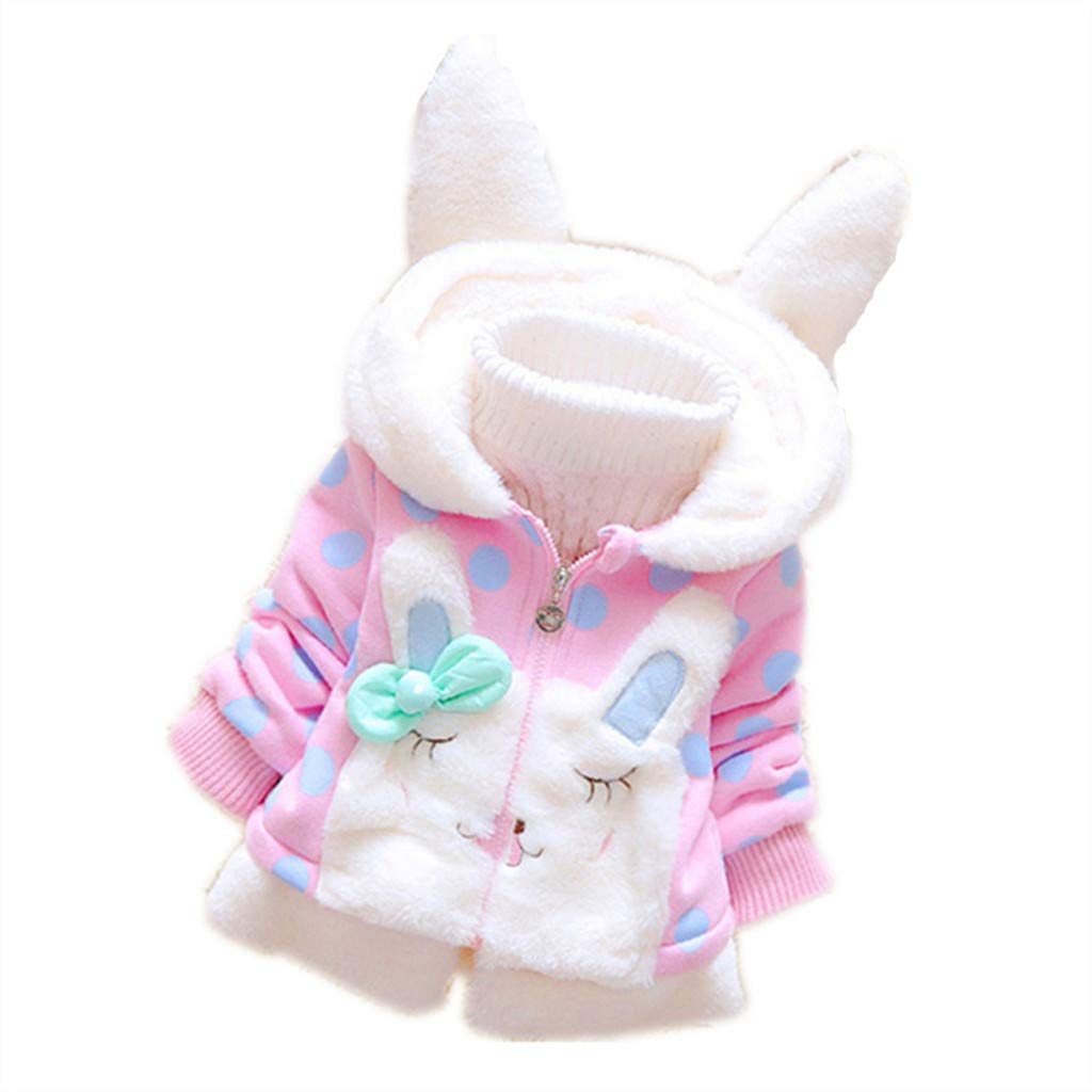 Vicbovo Clearance Baby Girl Cute Ear Hoodie Jacket Thick Warm Snowsuit Hooded Coat Winter Clothes Outwear for 1-5 Years (Pink, 3-4 Years) by Vicbovo Clearance