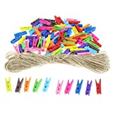 100 Pieces 10 Color Mini clolorful Natural Wooden Craft Clip Clothespins Photo Paper Peg Pin 83feet Jute Twine Paper Photo Hanging