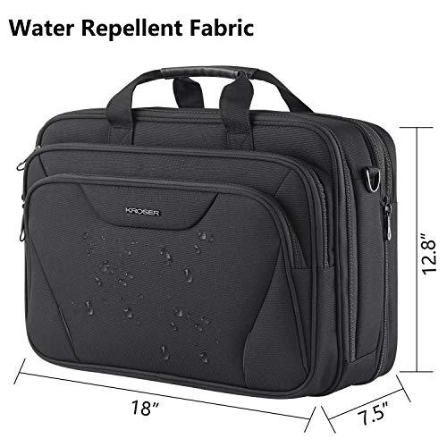 KROSER 18'' Laptop Bag Premium Laptop Briefcase Fits Up to 17.3 Inch Laptop Expandable Water-Repellent Shoulder Messenger Bag Computer Bag for Travel/Business/School/Men/Women-Black by KROSER (Image #2)