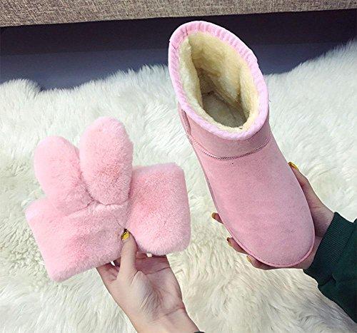 am Schneeschuhe Freizeit KUKI tragen dick zwei Mode Ende Damenschuhe pink Damenstiefel wx8qxY1BR