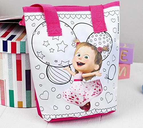 Mini Bag for Painting Masha and the Bear Paint Handbag! 10.2 inch Preschool Backpack Baby Bag, and Rhinestones Small Backpack Kids with Markers Girl Cute Kindergarten for Baby Little Pink by Masha and the Bear