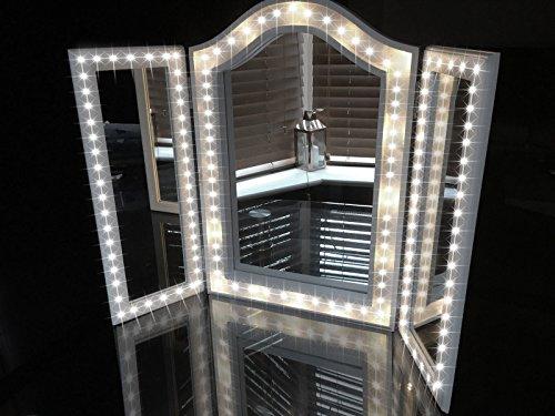 SAILAWEI LED Vanity Mirror Lights Kit, DIY Cosmetic Makeup Mirror Lamp, 13ft/4M 240 LED Flexible Light Strip Kit  & Makeup Table Set, Daylight White Dimmer + Power Supply