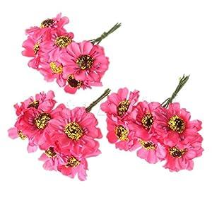 Chic Wedding Bridal Bouquet Party Decor Artificial Camellia Flowers DIY Craft Fuchsia 72pcs 92