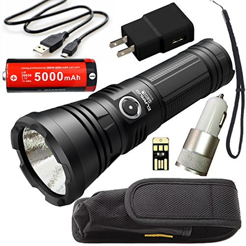 Klarus G20L SUPER BUNDLE includes 3000 Lumen LED USB Rechargeable Flashlight, 26650 Battery, Holster, Lanyard, Charging Cable, Car Adapter, Wall Adapter, and Mini USB Light