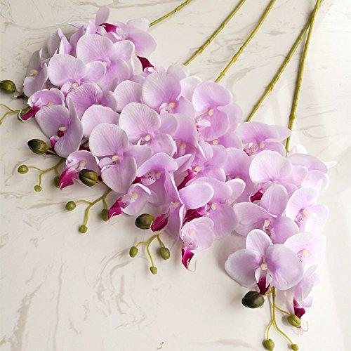 jiumengya 5pcs 78cm (7 heads/piece) Phalaenopsis Butterfly Moth Orchid Thai Orchids lighter purple for Wedding Centerpiece Decorative Artificial Flowers (lighter purple) by jiumengya