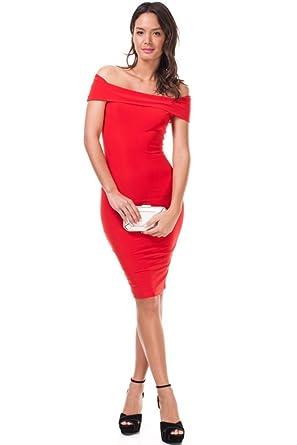 828a21737a8 Amazon.com  SkyFashion Dear-Lover Women s Off-shoulder Slash Neck Bodycon  Dress (S
