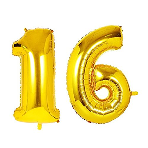 40 Column (StarParty 40inch Gold Number 21st,30th,40th,50th,60th balloon Party Festival Decorations birthday wedding Anniversary coming-of-age ceremony Jumbo foil helium balloons. (40inch gold number 16))