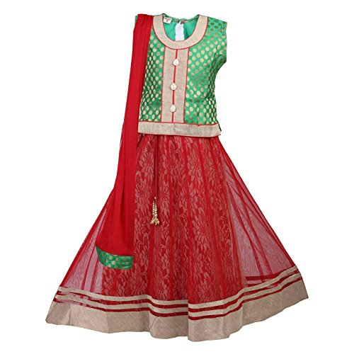 - Ashwini Girls Netted Embroidery Green Lehenga Choli Set
