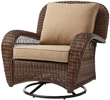 Hampton Bay Beacon Park Wicker Outdoor Swivel Lounge Chair 1, Brown