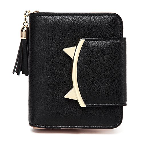 Women Cute Cat Mini Wallet Design Coin Small Purse leather Wrist Strap (black)