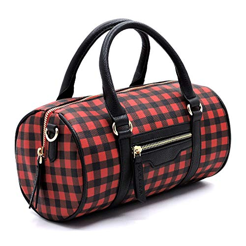 Plaid Check Cylinder Shape Crossbody Bag for Women (RED/BK)