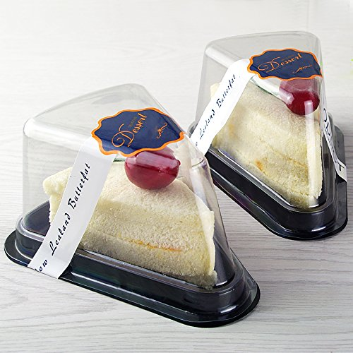 Set of 50 Cheesecake Cake Slice Container Pods (Clear Lid Black - Cheesecake Slice