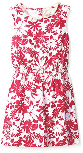 Scout + Ro Girls' Printed Floral Knit Dress with Scalloped Trim, Lollipop, 14