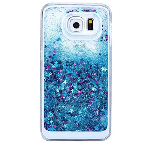 Price comparison product image Urberry Galaxy S7 Edge Case, Floating Bling Glitter Sparkle Case for Samsung Galaxy S7 Edge with a Screen Protector (Blue)