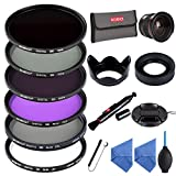Beschoi 58mm UV Protection Lens Filters Filter Kit including UV + CPL + FLD + ND2 + ND4 + ND8 Slim Lens Filter Set 0.35x HD Wide Angle Fisheye