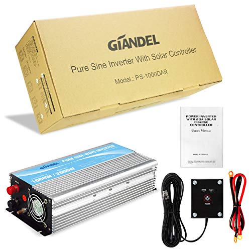 Giandel Pure Sine Wave Power Inverter 1000W DC 24V to AC 110V 120V with Remote Control with Dual AC Outlets &1A USB Port for RV Truck Car Solar System and Emergency by Giandel (Image #5)