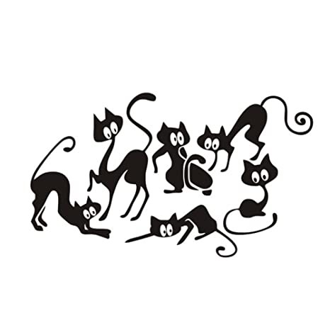 Topdo 1 pcs Pegatinas de Pared Gato Arte Pegatina de Pared Tatuajes de Pared Decoración,