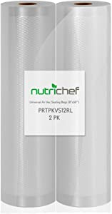 "NutriChef Premium (2) Vacuum Sealer Bags-8"" Wx50'L PKVS10BK, PKVS10WT, PKVS18SL, PKVS18BK, PKVS20STS, PKVS30STS, and Other Brands, One Size, 8""x50' Rolls (2-Pack)"