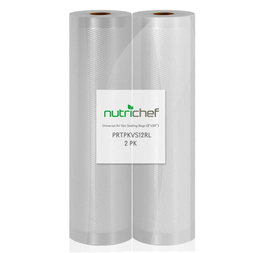 (2) Rolls Vacuum Sealer Bags - 8'' Width, 50' Length Each Roll - For NutriChef PKVS10BK, PKVS10WT, PKVS18SL, PKVS18BK, PKVS20STS, PKVS30STS, and Other Vacuum Air Sealing Systems - NutriChef PRTPKVS12RL by Nutrichef