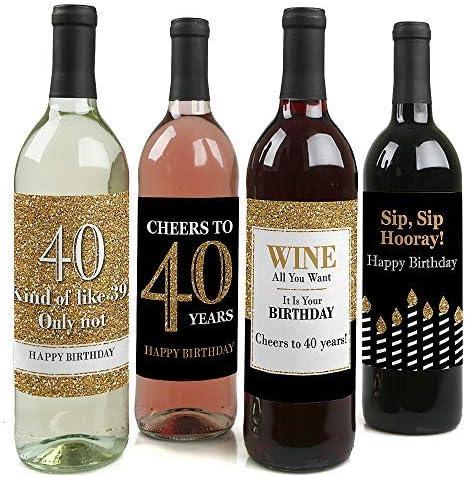 Amazon.com: Adultos 40º cumpleaños – Oro – Botella de vino ...