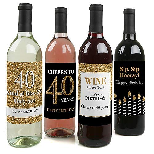 Adult 40th Birthday - Gold - Birthday Party Gift for Women and Men - Wine Bottle Label Stickers - Set of 4
