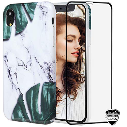 Leaves Protector Case - iPhone XR Case with Glass Screen Protector,REEJAX Cute Banana Leaf Marble for Girls Women Best Protective Slim Fit Clear Bumper Glossy TPU Soft Silicon Cover Phone Case for iPhone XR[6.1inch]