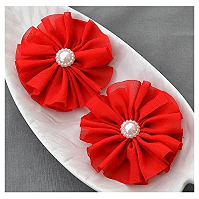 12 Red Chiffon Flower Soft Fabric Silk Pearl Ballerina Twirl Flower Bridal Wedding Garter Baby Hair Comb Clip Headband SF151