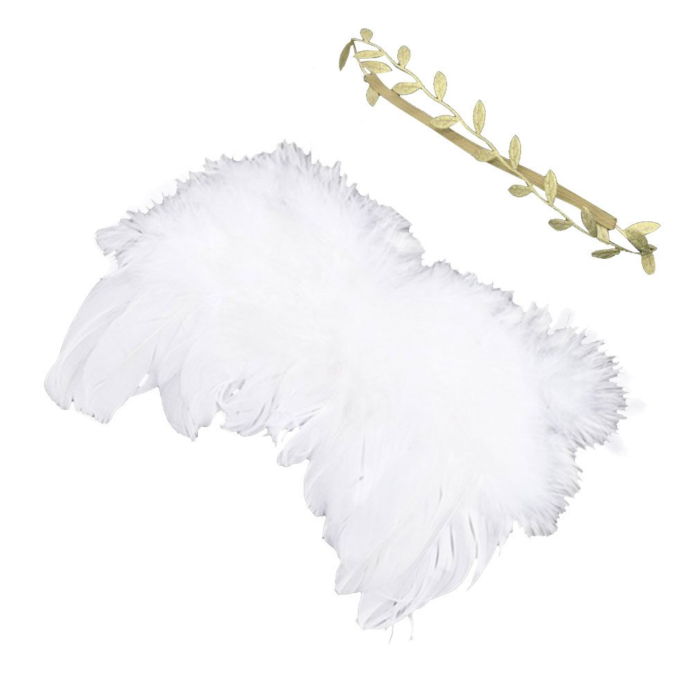Merssavo White and Gold Newborn Baby Angel Wings & Headband Costume Photo Photography Prop Outfit PO-6PLE-C6MC
