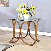 Furniture of America Artenia Modern Champagne End Table