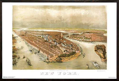 City New York Panoramic Map (New York City Panoramic Map 1874 Poster Poster (36x24) in a Walnut Wood Frame 22044-PSA010875)