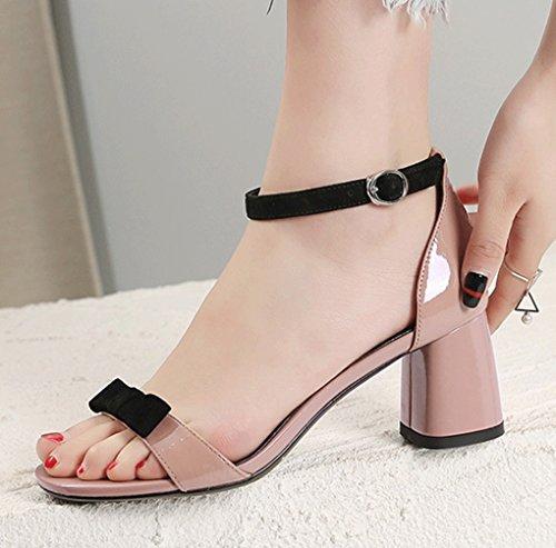 de Tacón Verano HJHY® Grueso Tacón Coreana de Pink Punta Sexy Sandalias Zapatos la Abierta Sandalias de Versión Alto con Sandalias Femenina de 7w7qACa