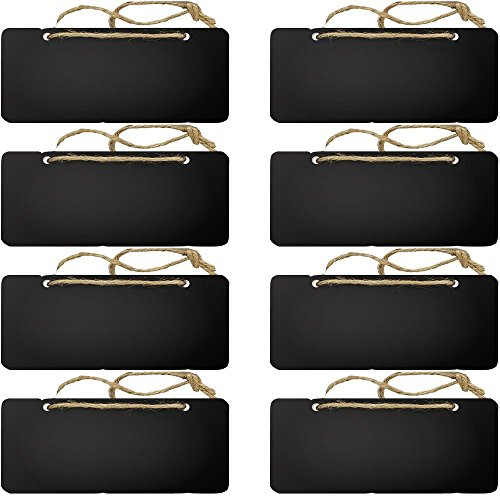 Megrocle 8 Pieces Halloween Rectangle Chalkboards Blackboard Party Trick or Treat Hanging Sign Decoration Message Board Signs for Christmas,Thanksgiving,Halloween (7.2 x 3 inch) ()