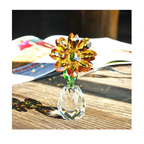 - Qf Crystal Sunflower Figurine Table Crystal Flower Collectible Ornament Home Decoration Souvenir Gifts (Sunflower)