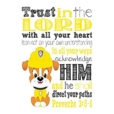 Rubble Paw Patrol Inspirational Nursery Decor Print - Trust In The Lord With All Your Heart - Proverbs 3:5-6: Handmade