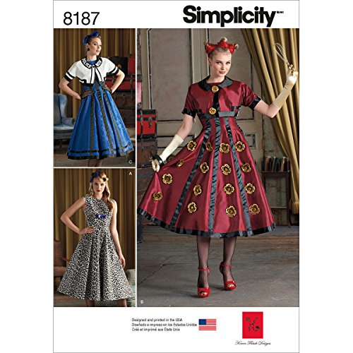 Simplicity 8187 Dress and Cropped Jacket Halloween Costume Sewing Patterns for Women by Karen Fleish Designs in Sizes R5 (14-22)]()
