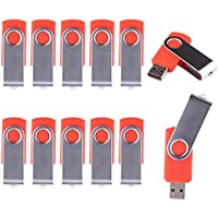 LHN® (Bulk 10 Pack) 16GB Swivel USB Flash Drive USB 2.0 Memory Stick (Red)