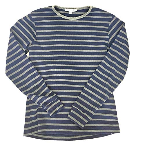 (Kit Culture Mens Striped Waffle Knit Stretch Thermal Long Sleeve Shirt-Sustainably Made in The USA (Navy-Charcoal Striped, Large) )