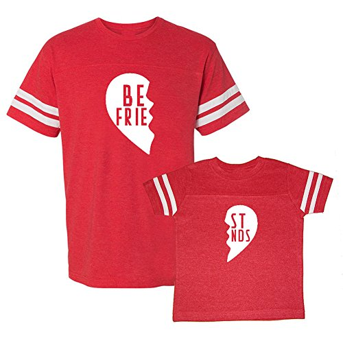 We Match!! - Best Friends (Two Halves of a Heart) - Matching Adult Football T-Shirt & Kids T-Shirt Set (YTH X-Large, Adult Small, Red, White Print)