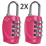 WYKDL TSA Approved Luggage Lock -Combination Lock 4 Digit Combination Padlocks with a Hardened Steel Shackle - Travel Locks for Suitcases & Baggage 2 Pack (Pink)