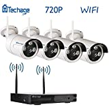 Techage Wifi Security System/ Wireless CCTV System Outdoor/ Indoor, 4CH 720P 1.0MP Waterproof IP Camera, 65ft Night Vision, Plug & Play, Home Security Surveillance Kits Without Hard Drive